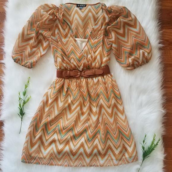 As U Wish Dresses & Skirts - As U Wish Chevron dress with belt